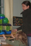 Diana and my son hamster watching