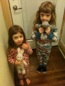 My two youngest ready for Pajamas for Haiti. My oldest didn't want to be photographed in her PJs